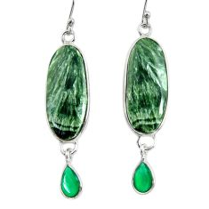 17.53cts natural green seraphinite (russian) 925 silver dangle earrings r29242