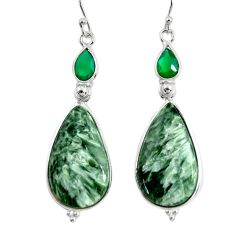 18.68cts natural green seraphinite (russian) 925 silver dangle earrings r29243