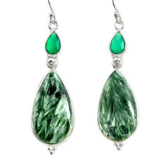 17.53cts natural green seraphinite (russian) 925 silver dangle earrings r29245