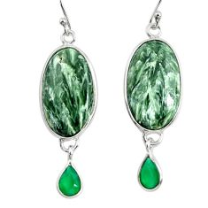 15.76cts natural green seraphinite (russian) 925 silver dangle earrings r29248