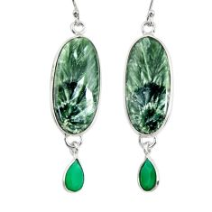18.12cts natural green seraphinite (russian) 925 silver dangle earrings r29249