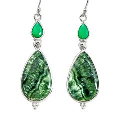 16.88cts natural green seraphinite (russian) 925 silver dangle earrings r29250