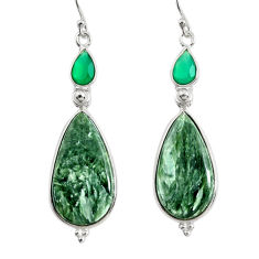 17.53cts natural green seraphinite (russian) 925 silver dangle earrings r29252
