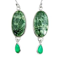 18.12cts natural green seraphinite (russian) 925 silver dangle earrings r29253