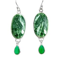 18.17cts natural green seraphinite (russian) 925 silver dangle earrings r29254