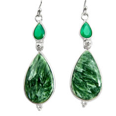 18.73cts natural green seraphinite (russian) 925 silver dangle earrings r29255