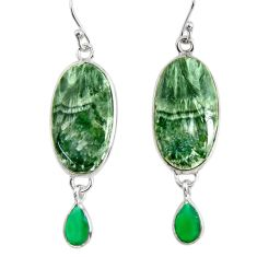 16.88cts natural green seraphinite (russian) 925 silver dangle earrings r29257