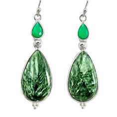 19.68cts natural green seraphinite (russian) 925 silver dangle earrings r29258
