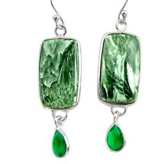 18.12cts natural green seraphinite (russian) 925 silver dangle earrings r29259
