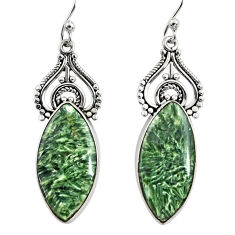 15.65cts natural green seraphinite (russian) 925 silver dangle earrings r29339