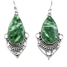 17.57cts natural green seraphinite (russian) 925 silver dangle earrings r30222