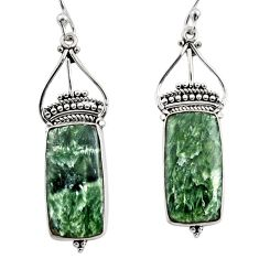 17.22cts natural green seraphinite (russian) 925 silver dangle earrings r30223
