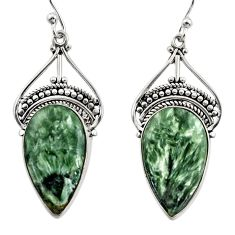 17.57cts natural green seraphinite (russian) 925 silver dangle earrings r30225