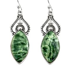 16.18cts natural green seraphinite (russian) 925 silver dangle earrings r30226