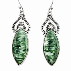 17.22cts natural green seraphinite (russian) 925 silver dangle earrings r30227