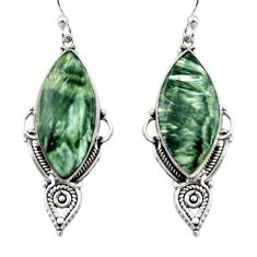 17.22cts natural green seraphinite (russian) 925 silver dangle earrings r30228