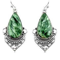 17.10cts natural green seraphinite (russian) 925 silver dangle earrings r30229