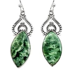 16.07cts natural green seraphinite (russian) 925 silver dangle earrings r30231