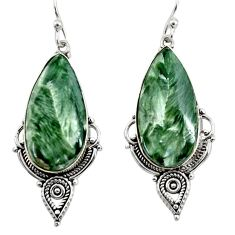 17.57cts natural green seraphinite (russian) 925 silver dangle earrings r30232