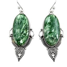 18.68cts natural green seraphinite (russian) 925 silver dangle earrings r30233