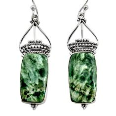 16.68cts natural green seraphinite (russian) 925 silver dangle earrings r30235