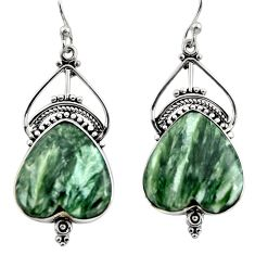 19.72cts natural green seraphinite (russian) 925 silver dangle earrings r30236