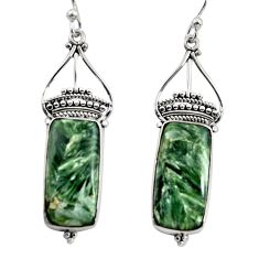 17.02cts natural green seraphinite (russian) 925 silver dangle earrings r30237