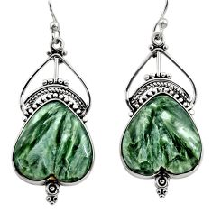 19.23cts natural green seraphinite (russian) 925 silver dangle earrings r30239