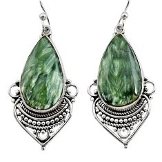 18.70cts natural green seraphinite (russian) 925 silver dangle earrings r30240