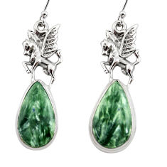 20.67cts natural green seraphinite (russian) 925 silver dangle earrings r45272