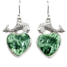 25.35cts natural green seraphinite (russian) 925 silver fish earrings r45269