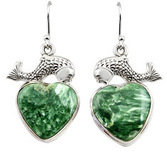 24.08cts natural green seraphinite (russian) 925 silver fish earrings r45271