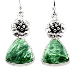 20.26cts natural green seraphinite (russian) 925 silver flower earrings r45262