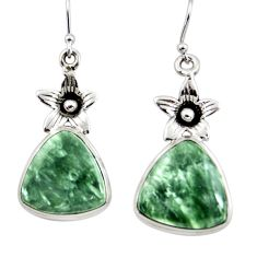 18.82cts natural green seraphinite (russian) 925 silver flower earrings r45264