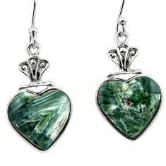 9.31cts natural green seraphinite (russian) 925 silver heart earrings r46811