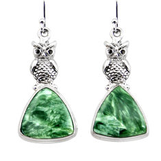 19.30cts natural green seraphinite (russian) 925 silver owl earrings r45268
