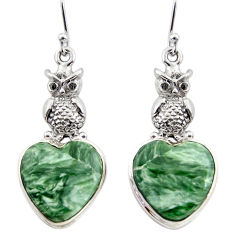 21.60cts natural green seraphinite (russian) 925 silver owl earrings r45273