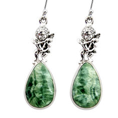 20.74cts natural green seraphinite 925 silver cupid angel wings earrings r45277