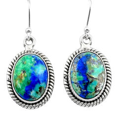12.71cts natural green turquoise azurite 925 silver dangle earrings t37541