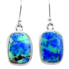 13.73cts natural green turquoise azurite 925 silver dangle earrings t37547