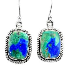 12.44cts natural green turquoise azurite 925 silver dangle earrings t37556