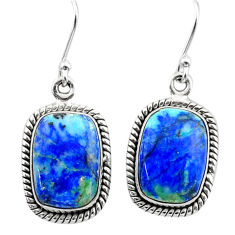 13.84cts natural green turquoise azurite 925 silver dangle earrings t37622