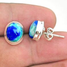 8.09cts natural green turquoise azurite 925 sterling silver stud earrings t37630