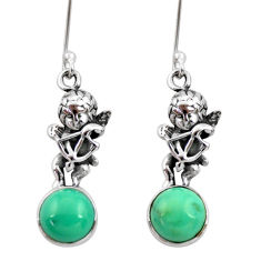 Clearance Sale- 6.70cts natural green turquoise tibetan 925 silver angel earrings jewelry d40527
