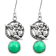 Clearance Sale- 6.85cts natural green turquoise tibetan 925 silver angel earrings jewelry d40533