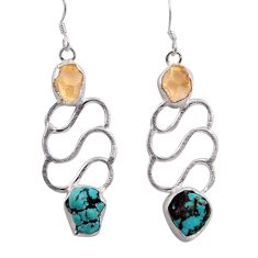 11.54cts natural green turquoise tibetan 925 silver dangle earrings d40410