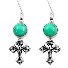 6.70cts natural green turquoise tibetan 925 silver holy cross earrings d40521