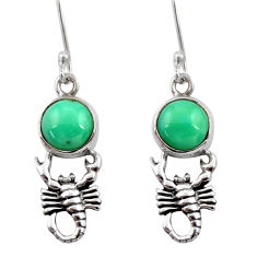 6.70cts natural green turquoise tibetan 925 silver scorpion earrings d40524