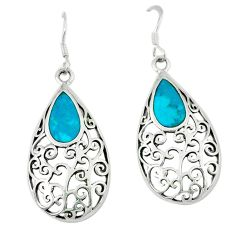 4.68gms natural green turquoise tibetan enamel 925 silver dangle earrings c11787