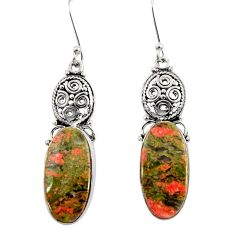 Clearance Sale- 19.72cts natural green unakite 925 sterling silver dangle earrings d39607